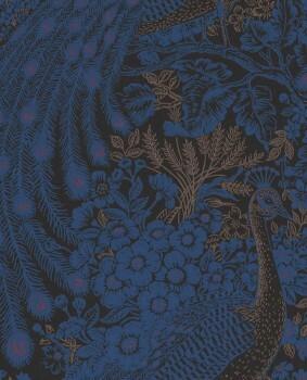 55-378002 Eijffinger Reflect Vlies-Tapete Pfau schwarz blau