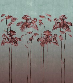Wandbild Grün Rot Bäume Matt 62-ODED191112 Tenue de Ville ODE