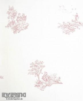 36-CHT22924102 Casadeco - Chantilly alt-rosa Toile de Jouy Vlies