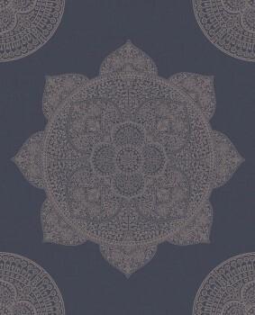 55-388783 Vliestapete blau rosegold Mandalamotiv Eijffinger Lounge