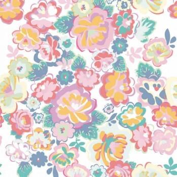 Blumen Mädchenzimmer Wandbild Bunt