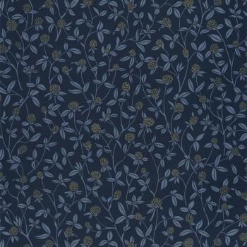 36-HYG100566905 Caselio - Hygge Blumenranken Tapete dunkelblau