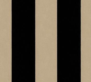 AS Creation Castello 33581-4, 335814 schwarz-beige Streifen Velour-Tapete