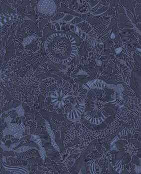 55-386512 Eijffinger Enso Vliestapete dunkelblau Blumenmuster
