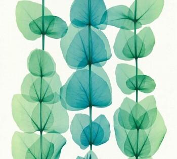 Vliestapete AS Creation X-Ray 34245-4, 342454 große Blätter blau-grün
