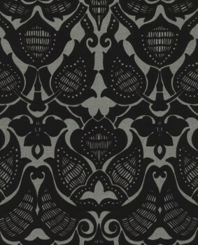 55-388771 Vliestapete Ornamente schwarz Flock Eijffinger Lounge