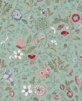 Eijffinger PIP Studio 55-375002, Vliestapete Mintgrün Blumen