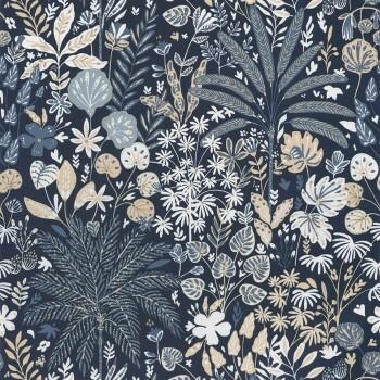 36-HYG100596913 Tapete Caselio - Hygge Blumen dunkelblau gold