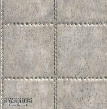 23-022343 Reclaimed Rasch Textil grau Vliestapete Stahlplatten
