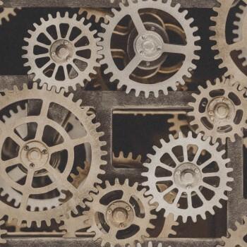 7-940114 Factory 3 Rasch kupfer-braun glänzend Zahnräder Tapete