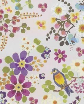 Blumen Vögel Vliestapete Bunt Mädchen