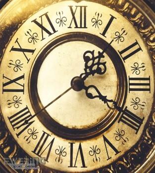 36-MTE65712030 Caselio - Metaphore Tapeten Wandbild Uhr gold
