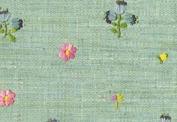 Vliestapete Grün Bast-Optik Blumen