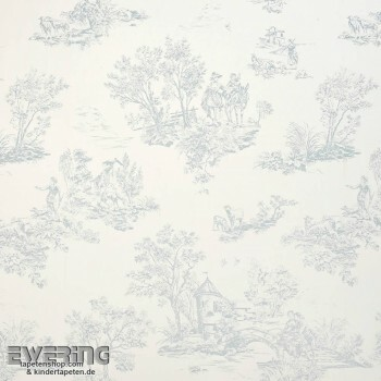 36-CHT22876109 Casadeco - Chantilly Stoff hell-blau Toile de Jouy