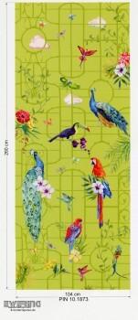 Marburg Zuhause Wohnen 4 6-47082 apfel-grün Panel Vögel Vlies