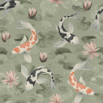 Tapete Vlies Fisch Grün Muster Rasch Kimono 409437