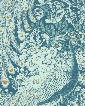 Reflect Eijffinger 55-378004 Pfau blau Vliestapete Wohnzimmer