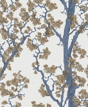 Bäume Blau Gold Vliestapete Tenue de Ville SAUDADE 62-SAU210613