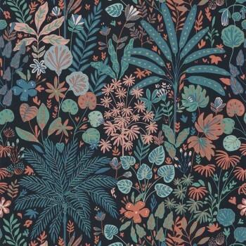 Caselio - Hygge 36-HYG100599922 Tapete Palmen Blumen schwarz bunt