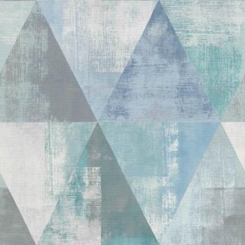 7-410907 Hyde Park Rasch Muster-Tapete blau Wohnzimmer Dreieck