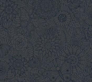 Vliestapete Schwarze Blumen