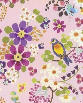 Rosa Blumen Vögel Vliestapete Bunt