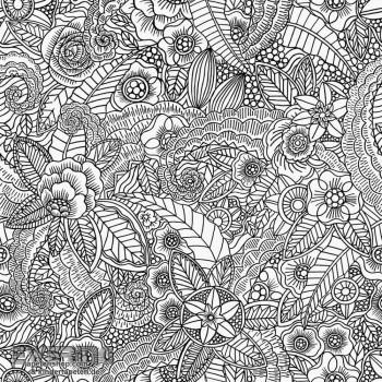 23-148616 Cabana Rasch Textil Blüten Mandala schwarz-weiß Tapete
