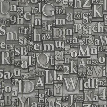 Rasch 7-940015 Factory 3 silber-grau Vliestapete Buchstaben