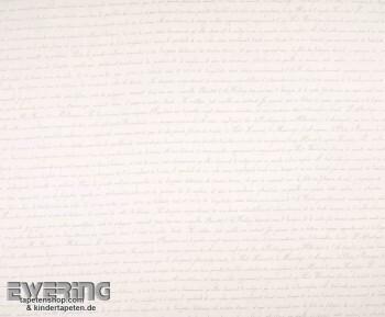 Texdecor Casadeco - Marina 36-MRN25191008 weiß Schrift Stoff