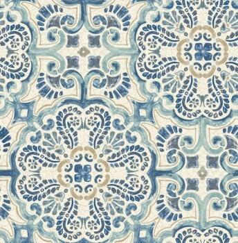 23-024046 Rasch Textil Restored Malerei blau Ornament Vliestapete