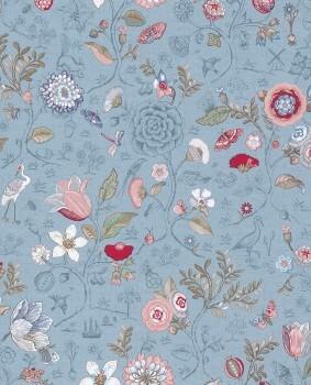 Eijffinger PIP Studio 55-375005, Vliestapete blau rosa Blumen