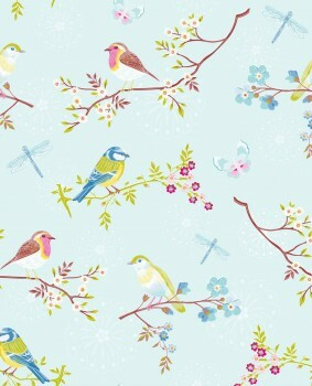 Eijffinger PIP Studio 55-375081, Vliestapete hellblaue bunte Blumenmuster