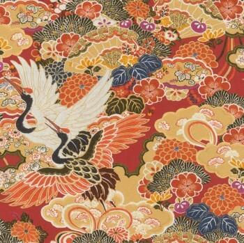 Vliestapete Orange Vögel Rasch Kimono 409345