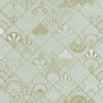 36-SRL100457098 Caselio - Scarlett Texdecor Vliestapete Muster Fjordgrün gold