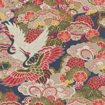 Tapete Vlies Kranich Bunt Rasch Kimono 409352