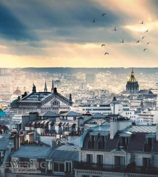 Tapeten Caselio - Metaphore 36-MTE65679099 Paris Wandbild blau