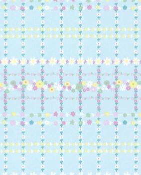 Vlies Tapete Hell-Blau Blumenranken