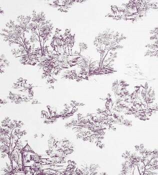 36-CHT22915114 Casadeco - Chantilly lila Toile de Jouy Vlies