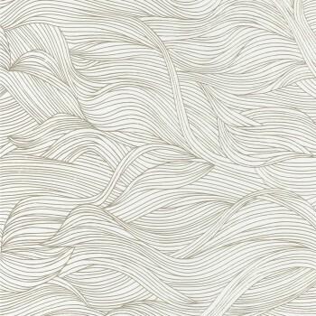 Tapete Wellen Weiß Gold
