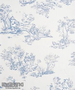 Casadeco - Chantilly 36-CHT22916136 blaugrau Toile de Jouy Tapete