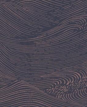Eijffinger Enso 55-386533 dunkelblau Vliestapete Wellen