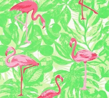 Tapete Grün Pinke Flamingos