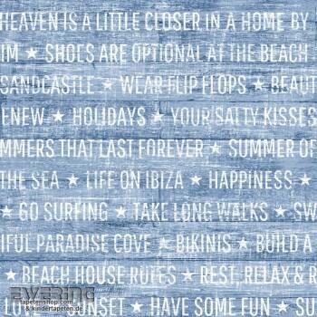 Rasch Textil Cabana 23-148643 Jeans-Blau Schrift Vliestapete