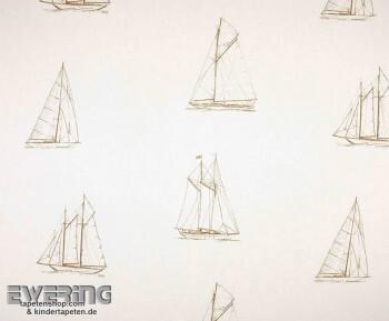 36-MRN25171012 Casadeco - Marina Texdecor Stoff Segelboot weiß