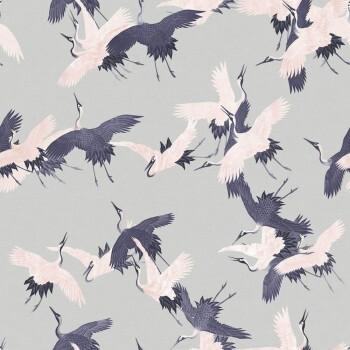 Tapete Grau Kranich Blau Vögel Tenue de Ville SAUDADE 62-SAU210203