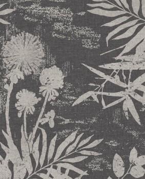 55-379035 Eijffinger Lino Blätter Blumen schwarz Vliestapete