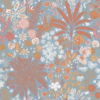 Caselio - Hygge 36-HYG100596524 Tapete Blumen Rotorange blau