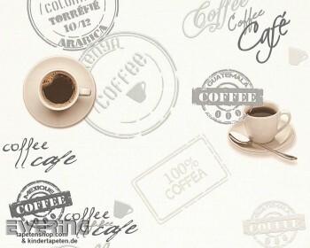Cocktail 8-94308-1, 94308-1_L Kaffee Vinyl-Tapete creme Küche