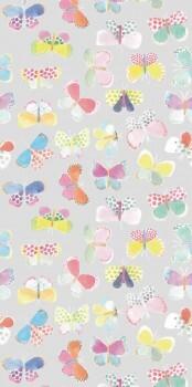 Hell-Grau Schmetterlinge Wandbild Bunt