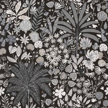 36-HYG100599911 Caselio - Hygge Vliestapete schwarz Blumen grau